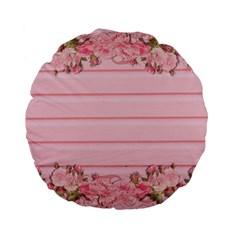 Pink Peony Outline Romantic Standard 15  Premium Flano Round Cushions by Simbadda