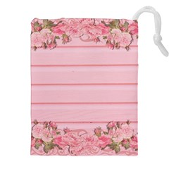 Pink Peony Outline Romantic Drawstring Pouches (xxl) by Simbadda