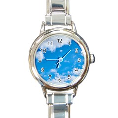 Sky Blue Clouds Nature Amazing Round Italian Charm Watch by Simbadda