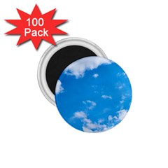 Sky Blue Clouds Nature Amazing 1 75  Magnets (100 Pack)  by Simbadda