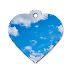 Sky Blue Clouds Nature Amazing Dog Tag Heart (two Sides) by Simbadda