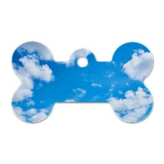 Sky Blue Clouds Nature Amazing Dog Tag Bone (two Sides) by Simbadda