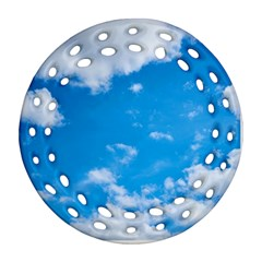 Sky Blue Clouds Nature Amazing Ornament (round Filigree) by Simbadda