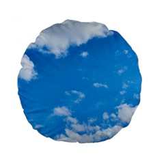Sky Blue Clouds Nature Amazing Standard 15  Premium Round Cushions by Simbadda