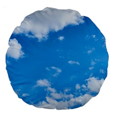 Sky Blue Clouds Nature Amazing Large 18  Premium Round Cushions by Simbadda