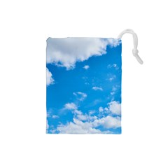 Sky Blue Clouds Nature Amazing Drawstring Pouches (small)  by Simbadda
