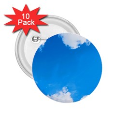Sky Clouds Blue White Weather Air 2 25  Buttons (10 Pack)  by Simbadda