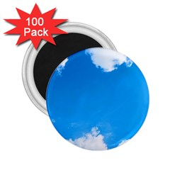 Sky Clouds Blue White Weather Air 2 25  Magnets (100 Pack)  by Simbadda