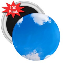 Sky Clouds Blue White Weather Air 3  Magnets (100 Pack) by Simbadda