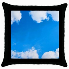 Sky Clouds Blue White Weather Air Throw Pillow Case (black) by Simbadda
