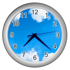 Sky Clouds Blue White Weather Air Wall Clocks (silver)  by Simbadda