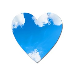 Sky Clouds Blue White Weather Air Heart Magnet by Simbadda