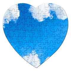 Sky Clouds Blue White Weather Air Jigsaw Puzzle (heart) by Simbadda