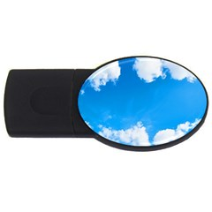 Sky Clouds Blue White Weather Air Usb Flash Drive Oval (4 Gb) by Simbadda
