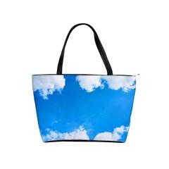 Sky Clouds Blue White Weather Air Shoulder Handbags by Simbadda
