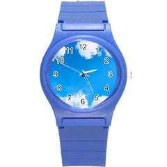 Sky Clouds Blue White Weather Air Round Plastic Sport Watch (s) by Simbadda