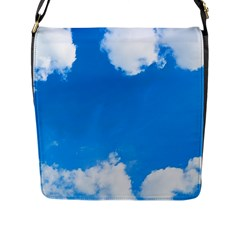Sky Clouds Blue White Weather Air Flap Messenger Bag (l)  by Simbadda