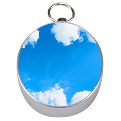 Sky Clouds Blue White Weather Air Silver Compasses by Simbadda