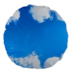 Sky Clouds Blue White Weather Air Large 18  Premium Flano Round Cushions by Simbadda