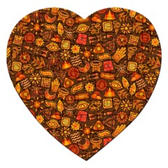 Pattern Background Ethnic Tribal Jigsaw Puzzle (heart) by Simbadda