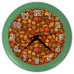 Pattern Background Ethnic Tribal Color Wall Clocks by Simbadda