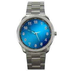 Fractals Lines Wave Pattern Sport Metal Watch by Simbadda