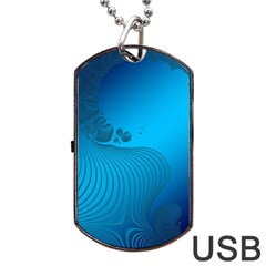 Fractals Lines Wave Pattern Dog Tag Usb Flash (two Sides) by Simbadda
