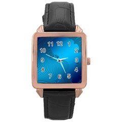 Fractals Lines Wave Pattern Rose Gold Leather Watch  by Simbadda