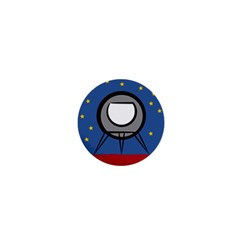 A Rocket Ship Sits On A Red Planet With Gold Stars In The Background 1  Mini Magnets by Simbadda