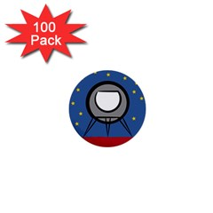 A Rocket Ship Sits On A Red Planet With Gold Stars In The Background 1  Mini Buttons (100 Pack)  by Simbadda