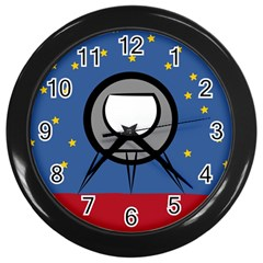 A Rocket Ship Sits On A Red Planet With Gold Stars In The Background Wall Clocks (black) by Simbadda