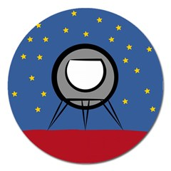 A Rocket Ship Sits On A Red Planet With Gold Stars In The Background Magnet 5  (round) by Simbadda