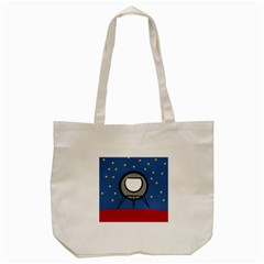 A Rocket Ship Sits On A Red Planet With Gold Stars In The Background Tote Bag (cream) by Simbadda