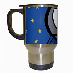 A Rocket Ship Sits On A Red Planet With Gold Stars In The Background Travel Mugs (white) by Simbadda
