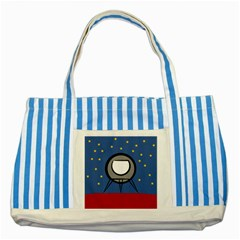 A Rocket Ship Sits On A Red Planet With Gold Stars In The Background Striped Blue Tote Bag by Simbadda