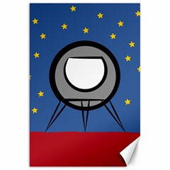 A Rocket Ship Sits On A Red Planet With Gold Stars In The Background Canvas 20  X 30   by Simbadda