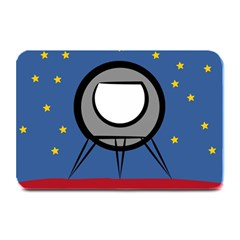 A Rocket Ship Sits On A Red Planet With Gold Stars In The Background Plate Mats by Simbadda