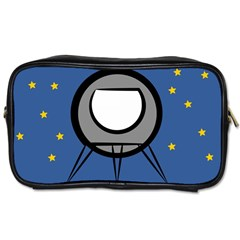 A Rocket Ship Sits On A Red Planet With Gold Stars In The Background Toiletries Bags by Simbadda