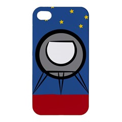 A Rocket Ship Sits On A Red Planet With Gold Stars In The Background Apple Iphone 4/4s Premium Hardshell Case by Simbadda