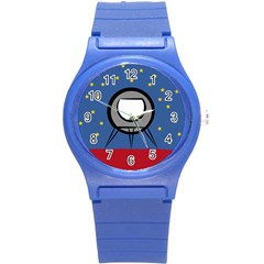 A Rocket Ship Sits On A Red Planet With Gold Stars In The Background Round Plastic Sport Watch (s) by Simbadda