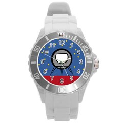 A Rocket Ship Sits On A Red Planet With Gold Stars In The Background Round Plastic Sport Watch (l) by Simbadda