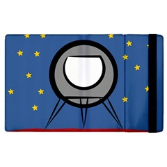 A Rocket Ship Sits On A Red Planet With Gold Stars In The Background Apple Ipad 3/4 Flip Case by Simbadda