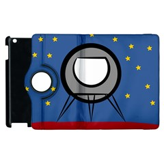 A Rocket Ship Sits On A Red Planet With Gold Stars In The Background Apple Ipad 2 Flip 360 Case by Simbadda