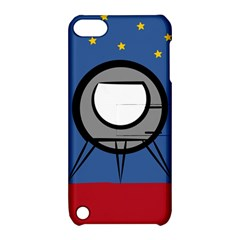 A Rocket Ship Sits On A Red Planet With Gold Stars In The Background Apple Ipod Touch 5 Hardshell Case With Stand by Simbadda