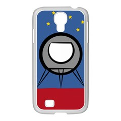 A Rocket Ship Sits On A Red Planet With Gold Stars In The Background Samsung Galaxy S4 I9500/ I9505 Case (white) by Simbadda