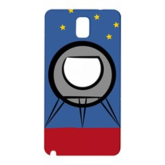 A Rocket Ship Sits On A Red Planet With Gold Stars In The Background Samsung Galaxy Note 3 N9005 Hardshell Back Case by Simbadda