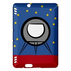 A Rocket Ship Sits On A Red Planet With Gold Stars In The Background Kindle Fire Hdx Hardshell Case by Simbadda