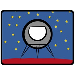 A Rocket Ship Sits On A Red Planet With Gold Stars In The Background Double Sided Fleece Blanket (large)  by Simbadda