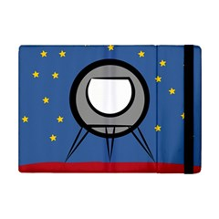 A Rocket Ship Sits On A Red Planet With Gold Stars In The Background Ipad Mini 2 Flip Cases by Simbadda