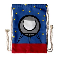 A Rocket Ship Sits On A Red Planet With Gold Stars In The Background Drawstring Bag (large) by Simbadda